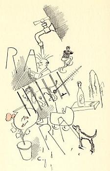 COCHERET, CH.A. - Poppenkast. Vijftig Schetsboekbladen uit de N.R.C. met teekeningen van den schrijver. (Met opdracht van de auteur).
