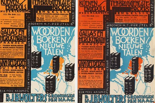 (DIJKSTRA, JOHAN). WOLTERS, J.B. - Woordenboeken nieuwe talen bij J.B. Wolters Groningen Den Haag. (Reclameblad).