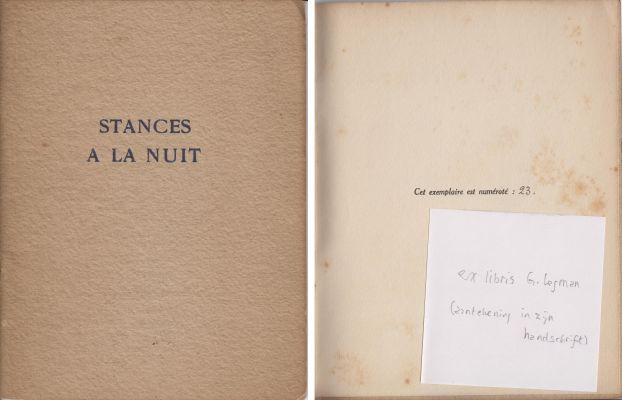 CHOUX, JULES - Stances a la Nuit. (Privé-uitgave van E. du Perron).