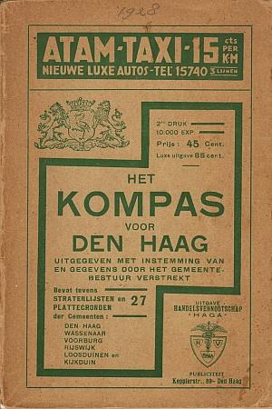PATIJN, J. (VOORWOORD). - Het kompas voor Den Haag. Uitgegeven met instemming van en gegevens door het gemeentebestuur verstrekt. Bevat tevens stratenlijsten en 27 plattegronden der gemeenten Den Haag, Wassenaar, Voorburg, Rijswijk, Loosduinen en Kijkduin.