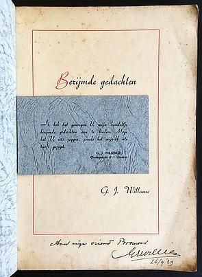 WILLEMSE, G.J. - Berijmde gedachten.