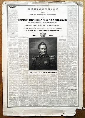 WILLEM I, KONING - Herinnering aan de vijf en twintigste verjaring van den komst des Prinsen van Oranje, (den tegenwoordigen Koning der Nederlanden), door de natie geroepen, om de regering dezer gewesten te aanvaarden, op den 30 November 1813.