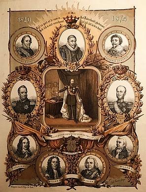 WILLEM III, KONING - Het zilveren Krooningsfeest van Koning Willem III. 12 Mei 1874. (Met twee andere gedenk-affiches van het jubileum van koning Willem III).