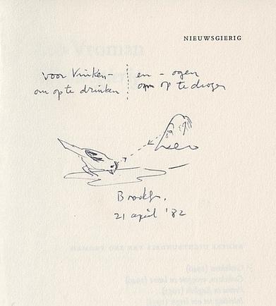 VROMAN, LEO - Nieuwsgierig. Gedichten. (Gesigneerd met handgeschreven opdracht en tekening van Vroman voor Simon Vinkenoog).