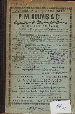 ADRESBOEK ZAANSTREEK (1892) - Adresboek van de Zaanstreek. Zaandam, Koog aan de Zaan, Zaandijk, Wormerveer, Krommenie EN Westzaan.