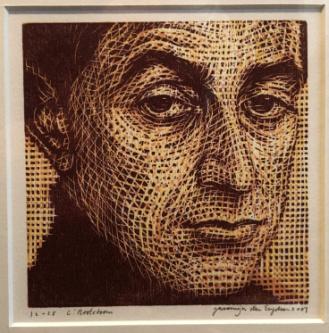(NOOTEBOOM, CEES). ENGELSEN, JACOMIJN DEN - Portret van Cees Nooteboom. Houtsnede.