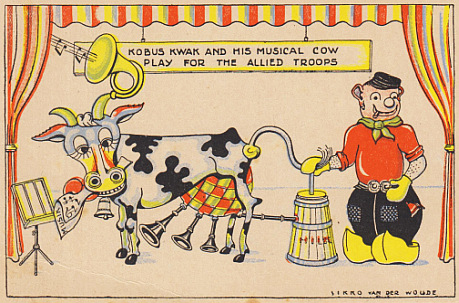 (BEVRIJDINGSKAARTEN). WOUDE, SIKKO VAN DER - 7 ansichtkaarten met karikaturen van de Engelssprekende bevrijders (1945).