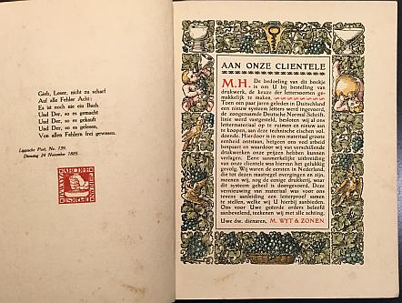 WYT & ZONEN, M. - Letterproef Electrische Drukkerij M. Wyt & Zonen, kantoorboekenfabriek.