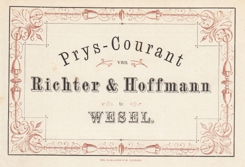 WIJN - Prys-Courant van Richter & Hoffmann te Wesel (1876).