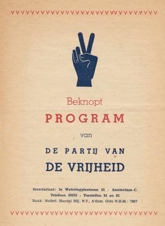 PARTIJ VAN DE VRIJHEID - Beknopt program van de Partij van de Vrijheid.