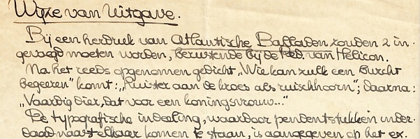 VRIES, HENDRIK DE - 'Wijze van uitgave'. (Origineel handschrift).
